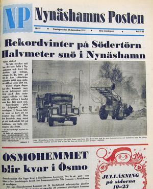 """NP 24 december 1976: """"Vilket väder! Så här mycket snö har det inte fallit över Nynäshamn och över Södertörn på många, många år. Ja, inte på 30 år har väderlekstjänsten mätt upp sådana siffror som just nu."""