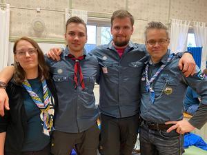 """Emma Nilsson, Aron Lif, Emil Pettersson och Thomas """"Farsan"""" Pirander deltog i helgens träff."""