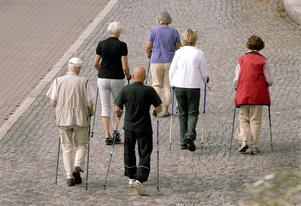 Att ta en promenad tillsammans, med eller utan stavar, ger bra motion i trevligt sällskap. Foto Hasse Holmberg/TT