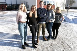 Gruppen som tog sig hela vägen fram till Skol-SM: Erika Duhlbo, Vilma Engberg, Philip Niva, Elise Gummås och Sofie Hansson. Saknas på bild gör Alexander Mogren.
