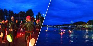 De simmade en sträcka på 3 kilometer från Slussen via Hälsinggårdsbryggan ut till Roxnäs Udde.