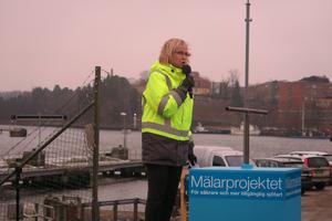 Trafikverkets generaldirektör Lena Erixson invigde ombyggnaden av kanalen 2016.