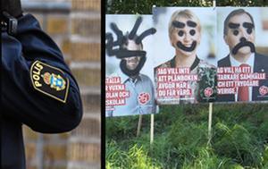 Polisen har fått flera anmälningar om vandaliserade valaffischer i Nynäshamns kommun. Flera partier är drabbade. Foto: Johan Nilsson/TT, Andreas Bendroth
