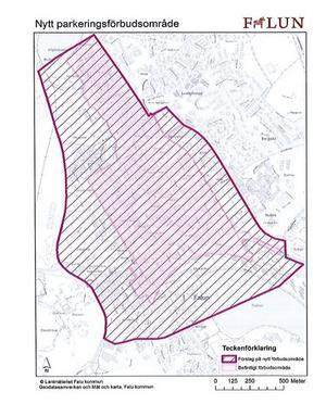 Foto: falun.se.  Falu kommun utökar  parkeringförbudsområdet. Bland annat tillkommer stora delar av Elsborg, men även stadsdelen Gamla Herrgården.