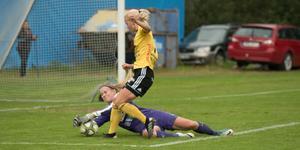 Emilia Hörnfeldt gjorde vad hon kunde i målet, men fick ändå släppa åtta bollar förbi sig.