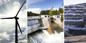Vindkraft,  vattenkraft och malmgruva.