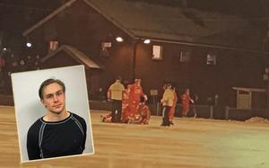 Gustavsbergsanfallaren William Palmblad fick föras till sjukhus efter en smäll mot huvud och nacke.