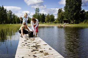 Mona Holm, Elin Holm och Berit Hedin möttes av en otrevlig syn i fredags. Flera kandadagäss hade stannat till vid Skajet och lämnat mänger med skit.