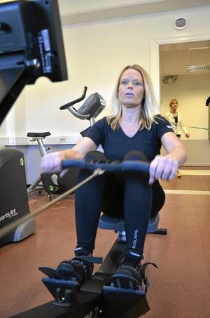 Roddmaskin. Mia Pettersson tycker att det är toppen med de nya träninsgmöjligheter, och tänker nyttja lokalen två-tre gånger i veckan.