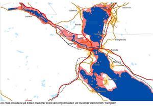 De röda områdena visar vilka områden som hamnar under vatten vid ett dammbrott i Trängslet.