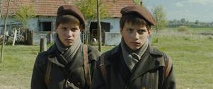 Två tvillingpojkar lär sig att härda ut för att överleva i andra världskrigets slutskede.