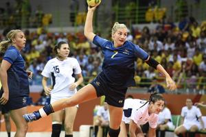 Mittsexan Linn Blohm gjorde fyra mål för Sverige mot Argentina.