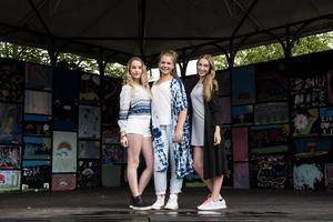 Tjejerna Lleucu Young, Alva Lindgren och Amie Parfitt i bandet High15.