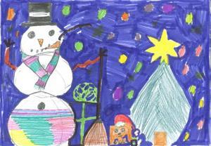 Den här teckningen har Jonna från Östersund ritat till Tomten.Foto: Teckning