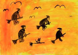 Alva Karlsson, 9 år, Lit. Påskkärringar på kvast mot en flammande skymningshimmel.