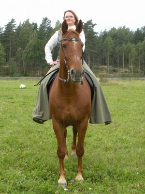 Jag rider inte traditionell dressyr. Min inspiration kommer från de gamla Europeiska ridakademierna där hästens rörelser blir till konst. Bakgrunden är att hästen skulle ridas i strid vilket kräver en stark häst och den skall ridas på en hand.