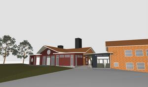 Så här blir det när Båtbackens friskola växer. Utbyggnaden sker på framsidan till vänster om nuvarande entré.