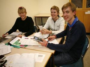 Victoria Mårtensson, Jerry Johansson och Olle Björkebaum villa ha högsta möjliga betyg i matematik och besöker därför Mattecentrum i Östersund.