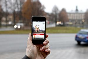 """Appen """"Bocken 365"""" gör att en virtuell bock står där året om, närhelst man riktar mobilen mot bockens traditionella plats."""