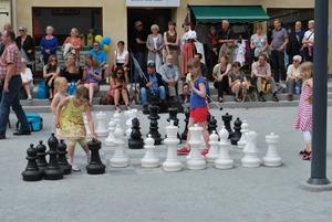 Den unga generationen ägnande sig åt schack.