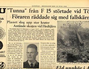 Det blev stora tidningsrubriker efter flygkraschen i Tönsen.