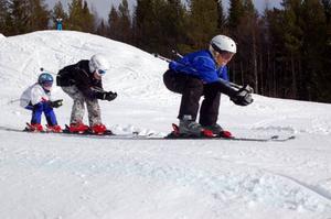 Tuffa tjejer som åker Skicross. Foto: Carin Selldén