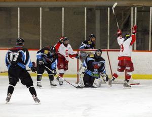 Marcus Mårtensson jublar över ett av sina mål i matchen mot S/L Hockey. Gästande Skedvi/Säter vann med 5–4 i Ljusne ishall.