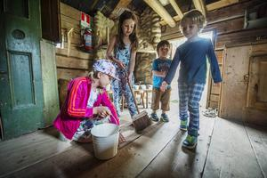 Syskonen Leo och Sofia Phillips och deras kusiner Thilde och Wille Asplund städade inne i ett av husen på fäbodvallen.