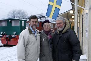 Tre järnvägsprofiler tillhörande Dellenbanans Vänner. Från vänster Sigurd Melin, Carin Sandin och Claes Sundberg.