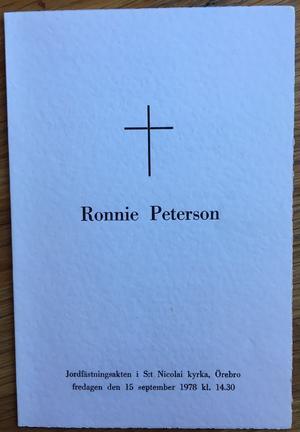 Programbladet vid Ronnie Petersons begravning.