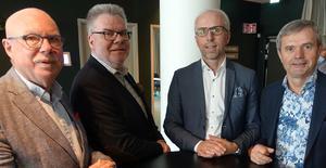 Sveneric Nylander, Stefan Ericson, Joakim Pantzar och Bo Andersson, ordförande respektive VD i Dina Försäkringar Sydost och Dina Försäkringar Skaraborg-Nerike, slår samman bolagen och bildar vid årsskiftet Dina Försäkringar Göta.