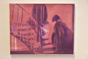 Två figurer går uppför en trappa. Bild Camilla Dal