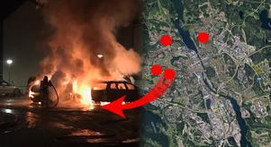 Bilden är ett montage. Kartan märker ut de fyra adresser där polisen upprättat anmälningar om misstänkt skadegörelse genom brand. Bild: Läsarbild & Google Maps