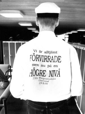 Klass T3Ea på Wargen tryckte upp en egen skjorta med ett ständigt aktuellt budskap  1991.