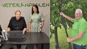 Dick Gottberg och Camilla Salmons på Veteranpoolen i Dalarna och Gunnar Lönnquist, 73, som jobbat för Veteranpoolen i fem år.