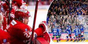 Emil Berglund var rejält besviken efter nya förlusten i Oskarshamn. Nu står det 3–3 i matcher och allt avgörs på måndag. Bild: Pär Olert och Suvad Mrkonjic/Bildbyrån.
