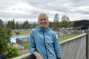 Maja Dahlqvist i en träningspaus på Idre Fjäll.