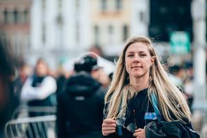 Emilia Fahlin slog till med en sensationell 15:e-plats på VM, och har därmed varit bästa svenska på linjeloppen tre år i rad och dessutom topp 15 alla tre gångerna. Nia i Norge 2017, fyra i Österrike i fjol och så 15:e i Yorkshire i dag. Arkivfoto: Thomas Maheux