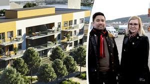 Mäklarna Mattias Jakobsson och Marika Nousiainen har fått uppdraget att sälja det nya bostadshuset.