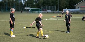 På Ösmo IP anordnas en tjejcamp för att locka fler tjejer till fotbollen.
