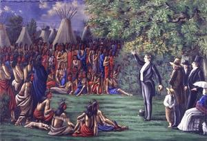 Mormonismens grundare Joseph Smith predikar för indianer. Målning av C.C.A. Christensen.