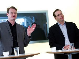 M:s dåvarande partisekreterare Per Schlingmann och finansminister Anders Borg uttalade sig positivt om kvotering till bolagsstyrelser. Foto: Bertil Ericson/TT