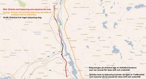 De röda delarna vill Trafikverket riva, det orange delarna vill de bygga upp gatubelysningen igen. De svarta delarna har ingen gatubelysning idag. Bild: Trafikverket.