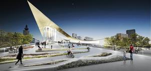 Mer kritik av förslaget till Resecentrum. Bättre att lägga stationen vid motorvägen?                Foto:  Bjarke Ingels Group