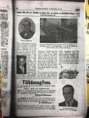 Ett tidningsurklipp från Västernorrlands Allehanda om Hellstrands tobak 1892.