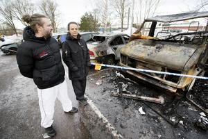 Ulf Östlund och Beata Fiereks husbil totalförstördes i den brand som härjade på en parkering på Brynäs.