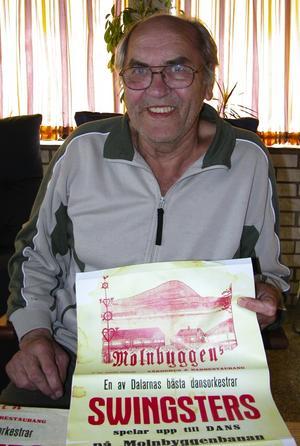 Arbetsplats. Gunnar Lindberg i Leksand har bara glada minnen från Molnbyggen där han inledde sin musikerbana tillsammans med kompisarna i bandet Swingsters. Foto:Annki Hällberg