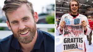 Henrik Zetterberg gratulerar Timrå IK-spelarna. Här är det Jacob Olofsson som jublar efteråt. Foto: ST arkiv och Magnus Lejhall/Bildbyrån.