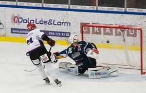 Kalix besegrade tillslut Borlänge på straffar. Här Kalix nummer 21, Filip Lindbäck.