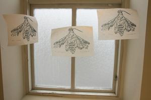 I ett fönster hänger grafiska blad med fjärilar, lätta som själar och med skadad vinge.